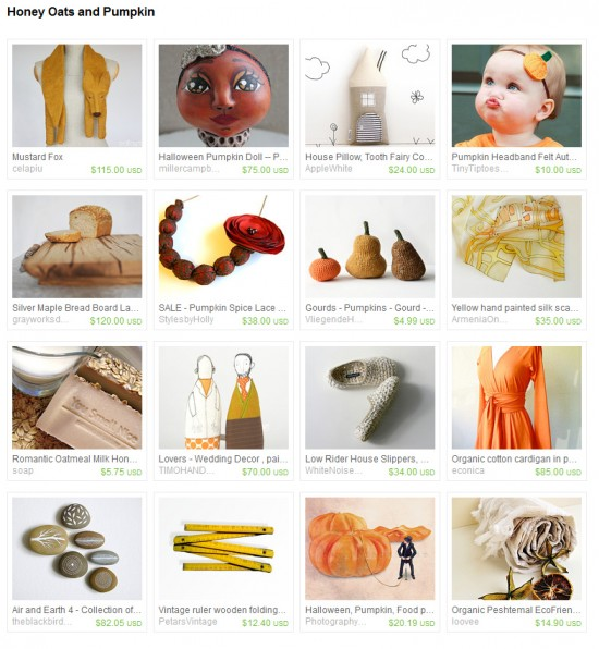 Honey Oats and Pumpkin -- an Etsy Treasury